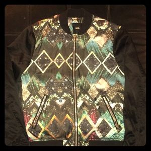 Men's Bomber Jacket Black/Multi ASOS size Small